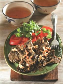 Джигар - печенка, тушенная по-узбекски