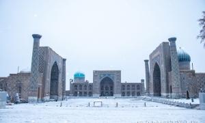 Фото: Самарканд в снегу